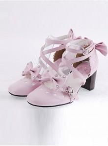 "Pink 2.5"" Heel High Cute Patent Leather Point Toe Cross Straps Platform Women Lolita Shoes"