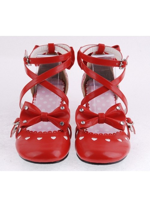 """Red 2.5"""" Heel High Classic Synthetic Leather Point Toe Cross Straps Platform Women Lolita Shoes"""