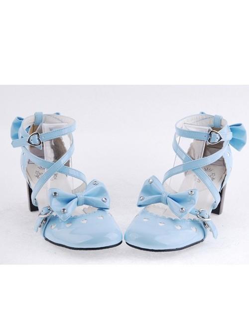 "Sky-Blue 2.5"" Heel High Elegant Patent Leather Point Toe Cross Straps Platform Women Lolita Shoes"