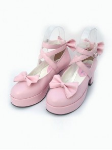 "Pink 2.5"" Heel High Beautiful Polyurethane Point Toe Cross Straps Platform Women Lolita Shoes"