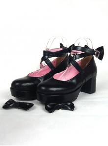 "Black 2.5"" Heel High Adorable Suede Point Toe Cross Straps Platform Women Lolita Shoes"
