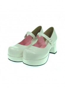 "White 2.9"" Heel High Cute Synthetic Leather Point Toe Cross Straps Platform Women Lolita Shoes"