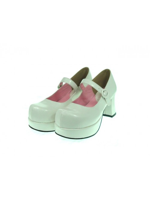 """White 2.9"""" Heel High Cute Synthetic Leather Point Toe Cross Straps Platform Women Lolita Shoes"""