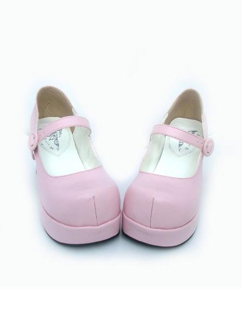 "Pink 2.9"" Heel High Classic Suede Point Toe Cross Straps Platform Women Lolita Shoes"