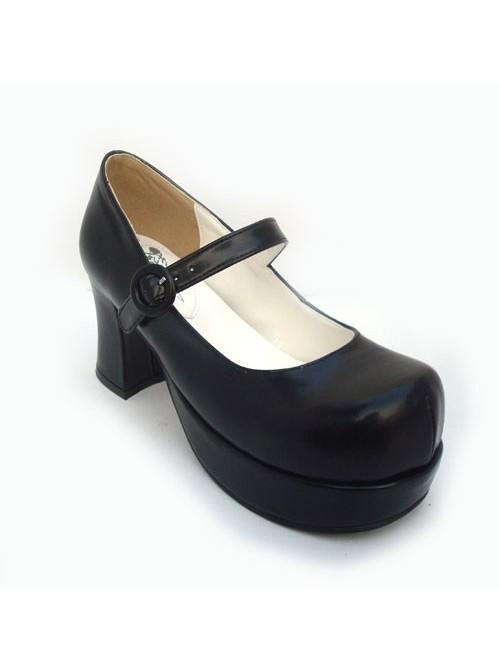 "Black 2.9"" Heel High Beautiful Synthetic Leather Point Toe Cross Straps Platform Women Lolita Shoes"