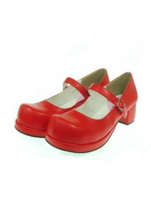 "Red 1.8"" Heel High Adorable Suede Round Toe Cross Straps Platform Women Lolita Shoes"