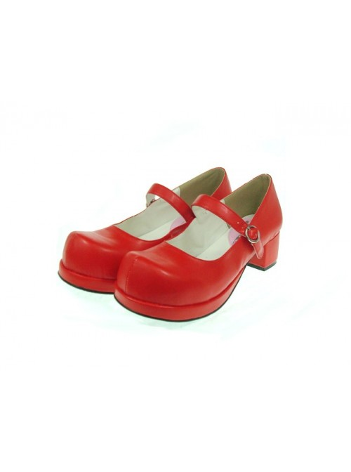 "Red 1.8"" Heel High Adorable Suede Round Toe Cross Straps Platform Women Lolita Shoes"