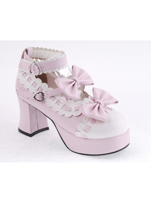 """Pink & White 2.7"""" Heel High Beautiful Synthetic Leather Round Toe Cross Straps Platform Girls Lolita Shoes"""