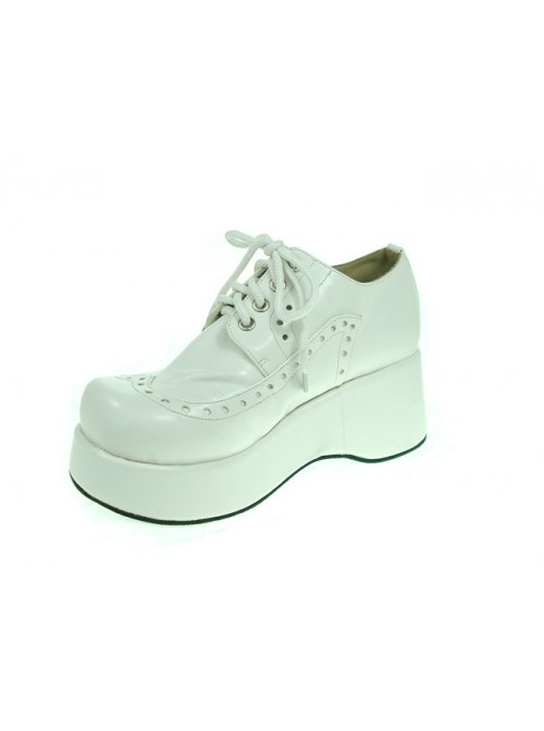 """White 2.4"""" Heel High Romatic Suede Round Toe Lace Tie Platform Girls Lolita Shoes"""