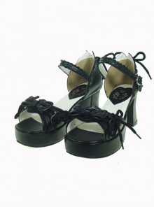 "Black 2.9"" Heel High Beautiful PU Point Toe Bow Platform Girls Lolita Sandals"