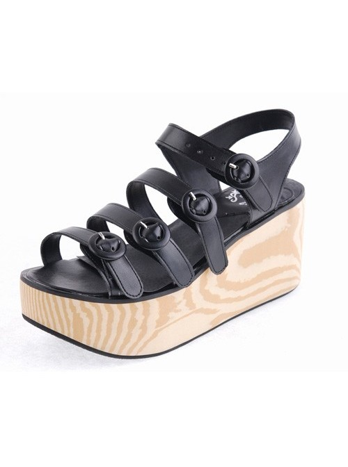"Black 3.1"" Heel High Beautiful PU Round Toe Cross Straps Platform Girls Lolita Sandals"