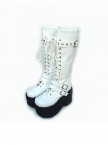 "White 3.7"" Heel High Lovely PU Round Toe Cross Straps Platform Girls Lolita Boots"
