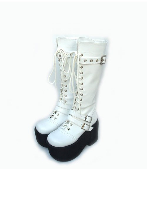 "White 3.7"" Heel High Lovely PU Round Toe Cross Straps Platform Girls Lolita Boots"