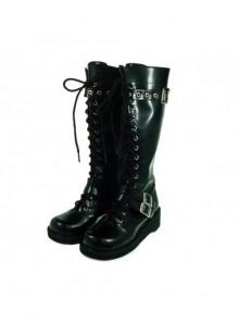 """Black 1.2"""" Heel Black Suede Round-toe Cross Straps Gothic Lolita Platform Boots"""