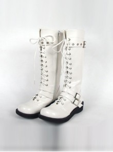 "White 1.2"" Heel High Special Patent Leather Round Toe Cross Straps Platform Girls Lolita Boots"