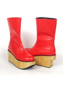 "Red 2.0"" Heel High Cute PU Round Toe Cross Straps Platform Girls Lolita Boots"