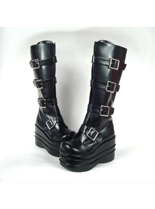 "Black 3.9"" Heel High Beautiful PU Round Toe Stud Buckles Platform Lady Lolita Boots"