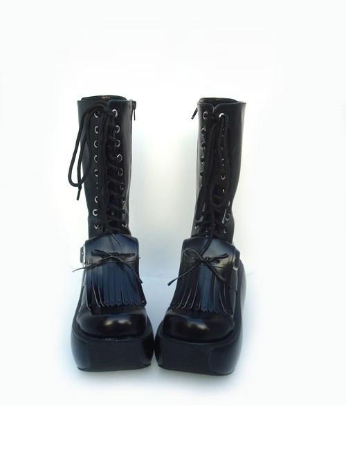 """Black 3.9"""" Heel Sexy Suede Round-toe Cross Straps Gothic Lolita Platform Boots"""