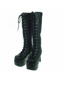 "Black 3.7"" Heel High Romatic Patent Leather Round Toe Cross Straps Platform Lady Lolita Boots"