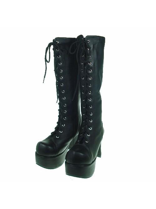 "Black 3.7"" Heel High Romatic Patent Leather Round Toe Cross Straps Platform Lady Lolita Boots"