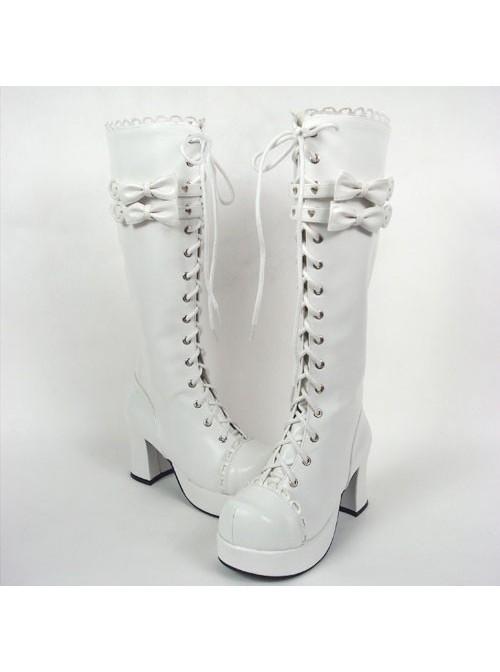 "White 3.0"" Heel High Cute PU Round Toe Bow Platform Girls Lolita Boots"