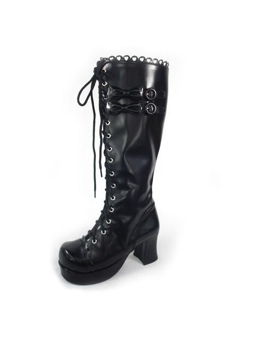 "Black 3.0"" Heel High Beautiful Polyurethane Round Toe Bow Platform Girls Lolita Boots"