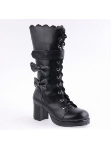 "Black 2.6"" Heel PU Round-toe Bowknot Gothic Lolita High Heel Boots"