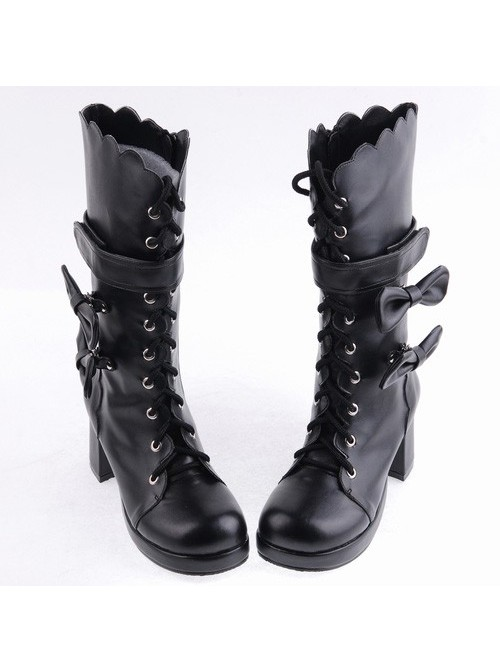 "Black 2.6"" Heel PU Round-toe Bowknot Gothic Lolita High Heel Boots"