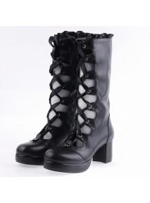 "Black 2.6"" Heel High Sexy Suede Round Toe Criss Cross Straps Gothic Lolita Platform Boots"