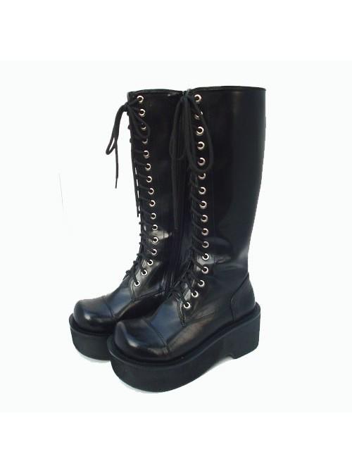 "Black 2.6"" Heel High Special Patent Leather Round Toe Cross Straps Platform Girls Lolita Boots"