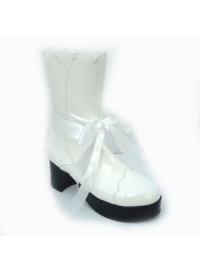 "White 3.0"" Heel High Cute PU Round Toe Bow Platform Lolita Short Boots"