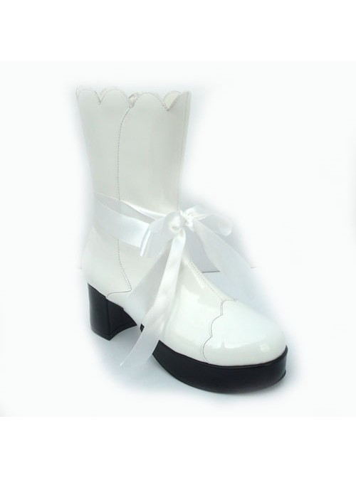 "White 3.0"" Heel High Cute PU Round Toe Bow Platform Lolita Short Boots"
