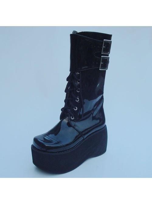 "Black 3.5"" Heel High Beautiful Suede Round Toe Cross Straps Gothic Girls Lolita Platform Boots"