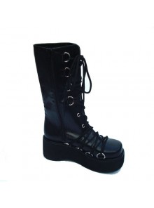 "Black 2.6"" Heel High Sexy Patent Leather Point Toe Cross Straps Platform Lady Lolita Boots"