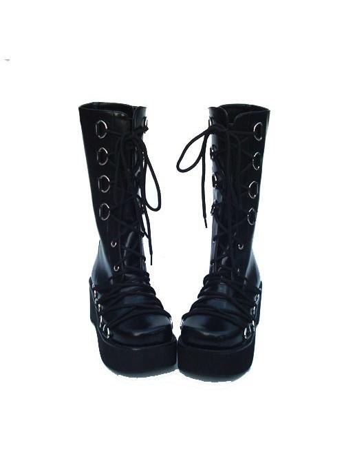 "Black 2.6"" Heel High Sexy Patent Leather Point Toe Cross Straps Platform Lady Lolita Boots"