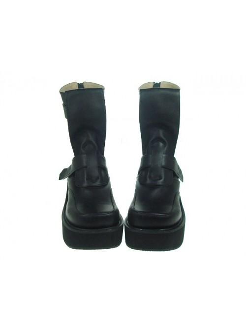 "Black 2.8"" Heel High Classical PU Point Toe Stud Buckles Platform Women Lolita Boots"