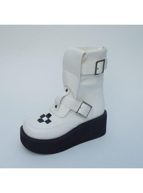 "White 2.8"" Heel High Cute Suede Point Toe Stud Buckles Platform Girls Lolita Boots"