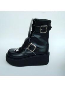 "Black 2.8"" Heel High Elegant Patent Leather Round Toe Stud Buckles Platform Girls Lolita Boots"