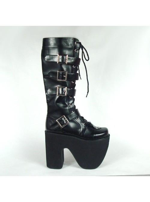 "Black 6.0"" Heel High Gorgeous Polyurethane Point Toe Stud Buckles Platform Girls Lolita Boots"