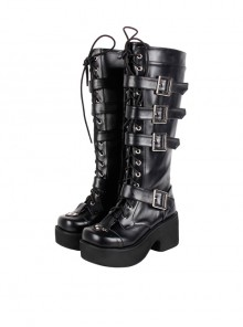 "Black 2.8"" Heel High Beautiful PU Point Toe Cross Straps Platform Girls Lolita Boots"
