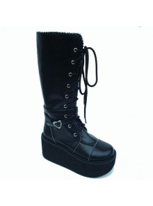 "Black 3.3"" Heel High Sexy Patent Leather Point Toe Cross Straps Platform Girls Lolita Boots"