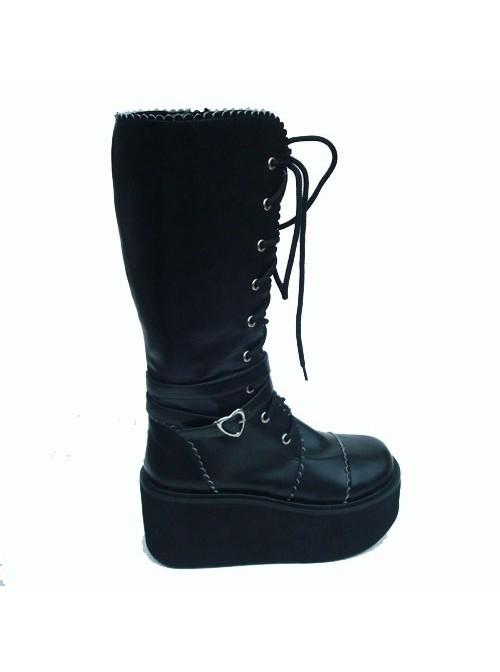 "Black 3.3"" Heel High Sexy Patent Leather Point Toe Cross Straps Platform Girls Lolita Boots"