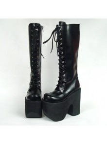 "Black 6.0"" Heel High Elegant PU Point Toe Cross Straps Platform Lady Lolita Boots"