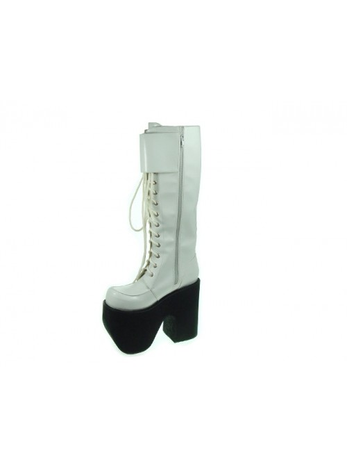 """White 6.0"""" Heel High Charming Synthetic Leather Round Toe Cross Straps Platform Lady Lolita Boots"""