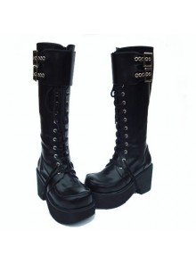 "Black 3.5"" Heel High Romatic PU Round Toe Cross Straps Platform Lady Lolita Boots"