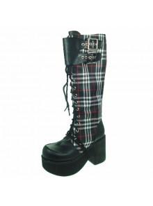"Black-White 3.5"" Heel High Cute Patent Leather Round Toe Cross Straps Platform Girls Lolita Boots"