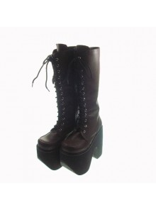 "Brown 6.0"" Heel High Cute Polyurethane Round Toe Cross Straps Platform Girls Lolita Boots"
