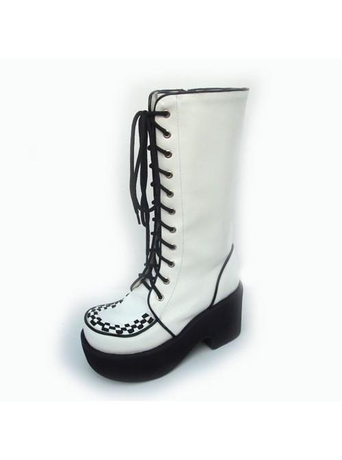 "White 3.1"" Heel High Lovely Suede Round Toe Cross Straps Platform Lolita Boots"
