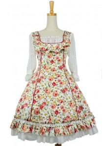 Red Floral Short Sleeves Lace Trim Cotton Lolita Dress