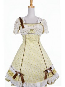 Sweet Yellow Spinning Printing Cotton Womens Lolita Dress